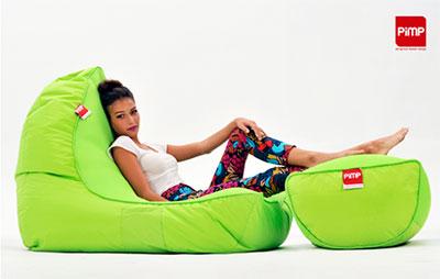 pimp coolio wild lime bean bag sofa. Black Bedroom Furniture Sets. Home Design Ideas