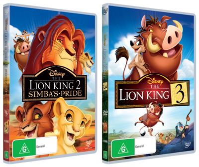 The Lion King 2 and 3 on DVD